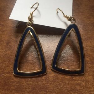 Vintage Navy Blue and Gold Triangle Earrings